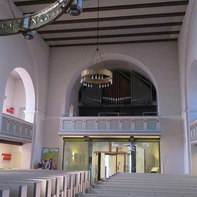 The large metallic chandeliers