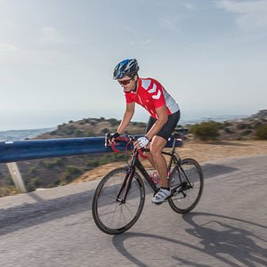 Part of our climbing challenge. Safe and steep ascents. Descents with panoramic sea views.