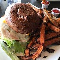 Yahtzee sandwich with mixed regular and sweet potato fries. Yum!