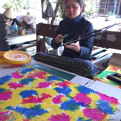 Woman Decorating Handmade Saa Paper