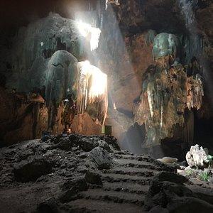 薄暗い中を進むと屋外から差し込む光がとっても幻想的な空間に。洞窟内は猿はいません、猫はいました!
