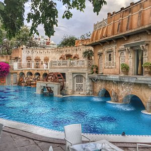 The pool area is like something out of a fairy tale!