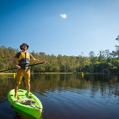 Stand up paddle boarding at the Enoggera Reservoir.