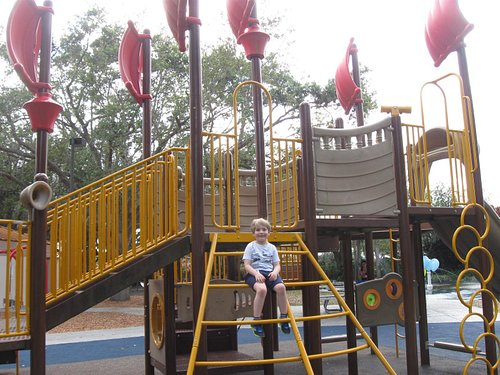 """Part of the """"pirate ship"""" on the playground"""
