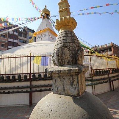 Ashokan stupa north with apartments overlooking