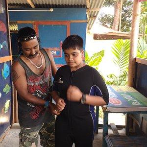Mithunda preparing my son for the trip