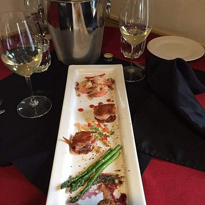 Tapas Tuesday is a great way to sample some unique foods. Here is bacon-wrapped shrimp, seared s