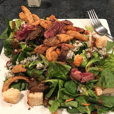 Black & Bleu salad and Seafood platter