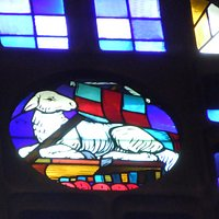 Coeur d'un grand vitrail de la nef d'Henri Marcel Magne