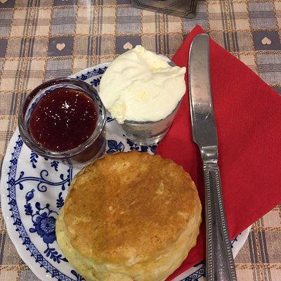 Fantastic scone, jam and cream