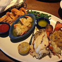 Perfect Anniversary dinner-Ultimate feast-claws subbed out for lobster tail.