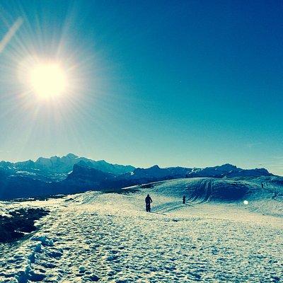 Au dessus de Samoëns, la Bourgeoise en Fat élec, face au Mont Blanc