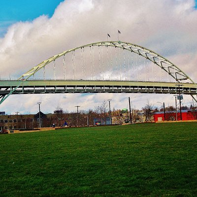 The Fremont Bridge views from Fields Park in NW Portland