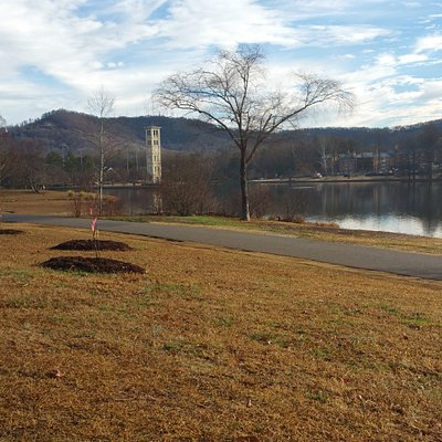 Furman university is next to the trail you can take a little detour to relax and rest.