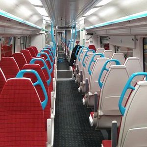 Inside of one of the trains.