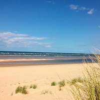 Holkham Bay's sandy beach