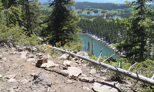 Looking down to Clear Lake and the Granby Reservoirs.