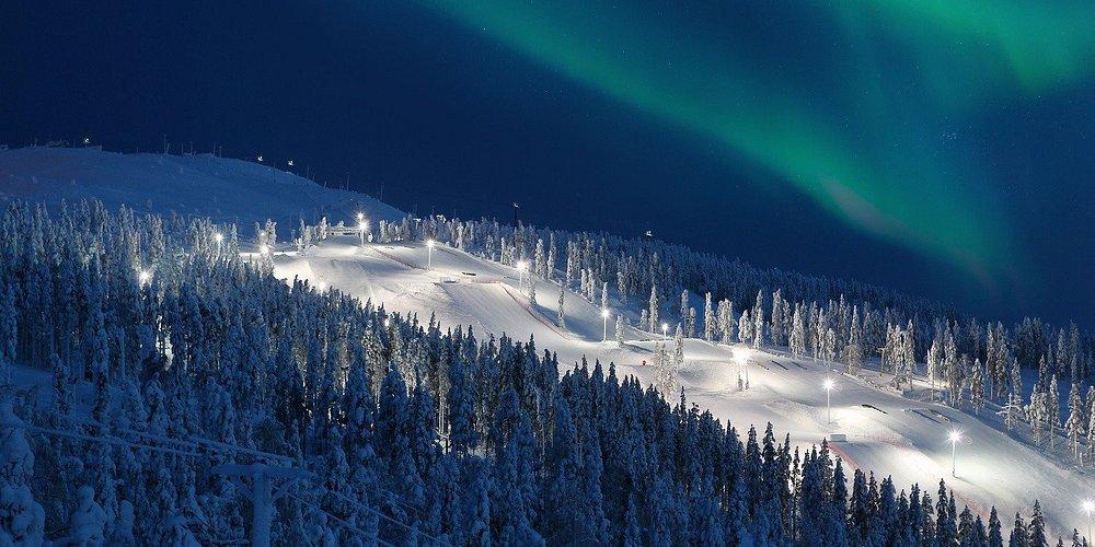 Northern Lights over slopes