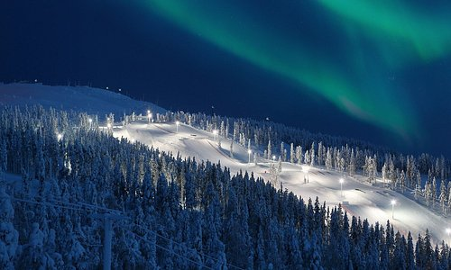 Northern Lights over slopes