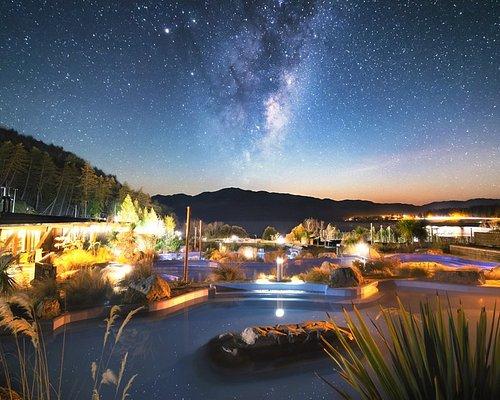 Tekapo Springs under the southern night sky.
