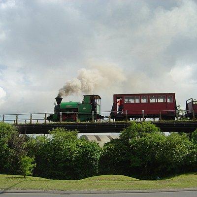 Melior heading to Kemsley Down across the century-old Milton Regis Viaduct