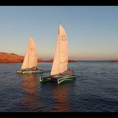 Brothers in arms, our babies sailing side by side in a Tandem sail