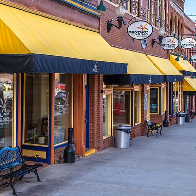 Bright yellow awnings show you have arrived!