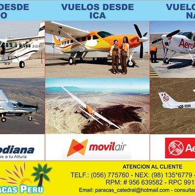 SobreVuelos desde Pisco( 1 H 45 Minutos)- Ica ( 1 H. 15 Minutos) - Nazca ( 35 Minutos)