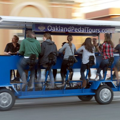 Drinking beer and pedaling, a great combo! Just across the bridge from San Francisco in Oakland.