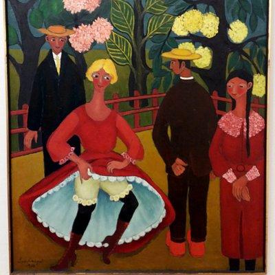 Lea Kaupin viehättävä, hauska ja värikäs maalaus. Naivismia parhaimmillaan.