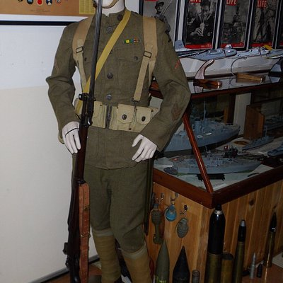 One of the many donated military uniforms.