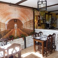 A perspective wall decoration of a Bodega (wine cellar)