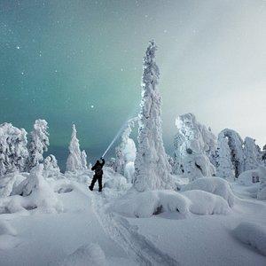 Heavy snow and starry sky