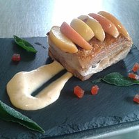 Pork belly with caramelized apple, membrillo jelly and ginger allioli