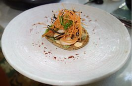 Shrimp Tostada Oriental Style served at on of the stops we made with Cartagena_Culinary_Tours