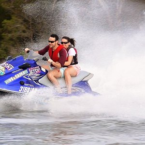 Couple enjoys Pumicestone Passage on one of our clean green fun machines!