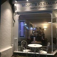 Outside the front of Mojac's with outside seating