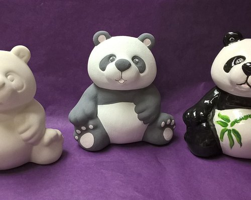 The plain bisque panda, then when it's painted with ceramic paints and then after it's been fire