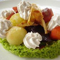 Tartelette légumes glacés, mousse cèpe, coppa... pour s'amuser
