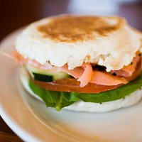 The Funky Salmon: cured scottish salmon, cream cheese, spinach, tomato and cucumber lightly gril