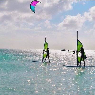 My daughter's windsurfing in Aruba