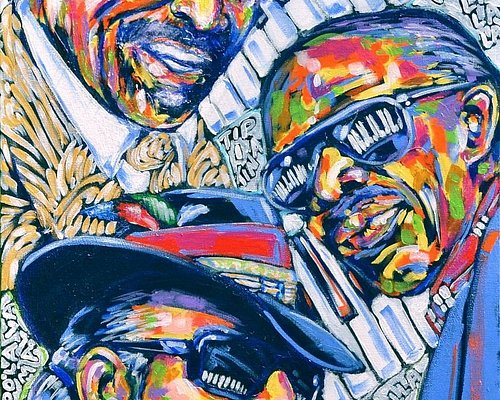 Allen Touissant, Professor Longhair, and Dr. John portrayed in this painting