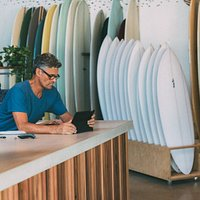 Cafe and surfboard showroom