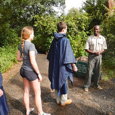 Entering Victoria Falls park with our guide Kelvin