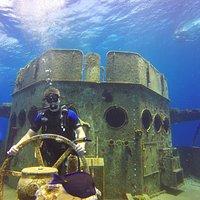 My son taking the obligatory USS Kittiwake pic!