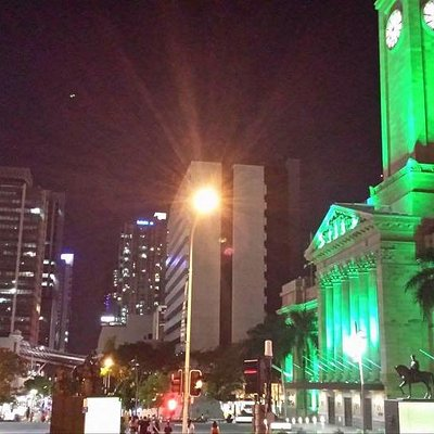 King George Square at night