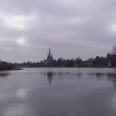 View across pool to Cathedral