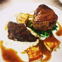 Fillet Steak, Roasted Celeriac, Slow Cooked Short Rib, Horseradish Mash, Wilted Greens...