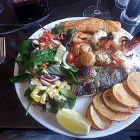 Fantastic seafood platter, Scallops, king prawns, salmon and seabass.