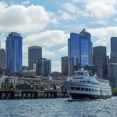 The Spirit of Seattle cruising along the waterfront during a Harbor Cruise.